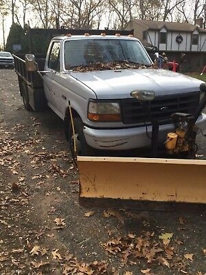 Ford 1997 F-450 Super Duty Flat Bed Truck with 9' Meyers Plow