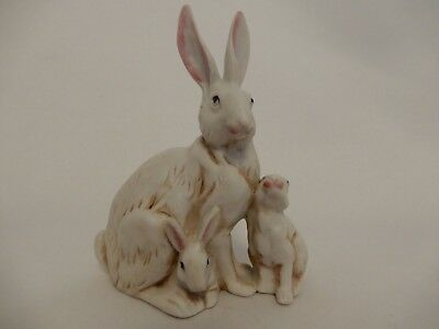 Rabbit with Two Baby Rabbits Porcelain Hand Painted Figurine 2472 Numbered