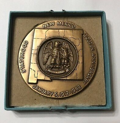 """OFFICIAL 50th GOLDEN ANNIVERSARY STATEHOOD NEW MEXICO BRONZE MEDAL 2 1/2"""""""