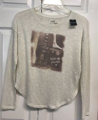 New Abercrombie Kids Sweater Girls Size L White Shimmering With Graphic
