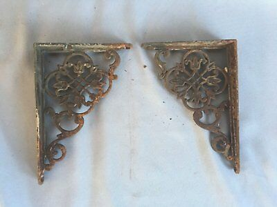Pair Antique Cast Iron Shelf Brackets Floral Decorative Old Vtg Hardware 329-17J