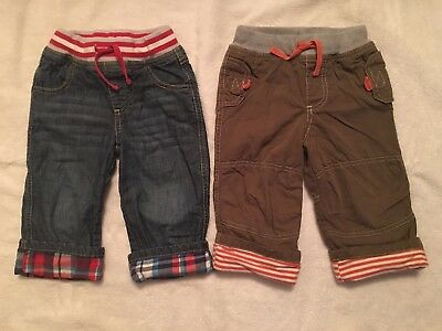 MINI BODEN Boys Lot of 2 Olive Green & Jeans Plaid Cuff Jersey Lined Sz18-24 Mo