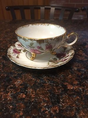Fine Bone China Cup & Saucer Vintage Antique With Flowers No Maker Marks