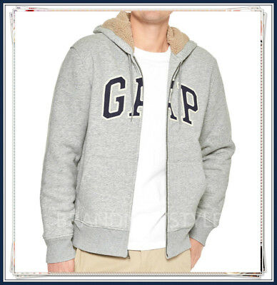 GAP Sherpa-lined arch logo zip hoodie GREY HEATHER Soft, comfy fleece JACKET MEN