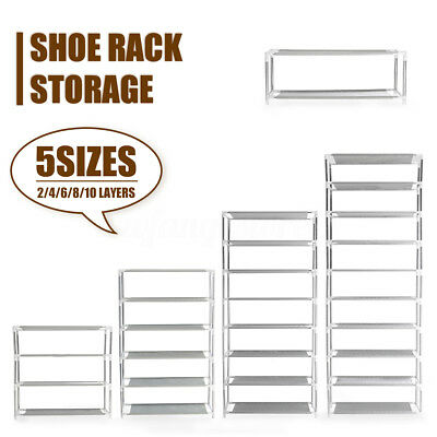 Stackable Storage Shoe Rack 2-10 Layers Cabinet Organiser Stainless Steel Canvas