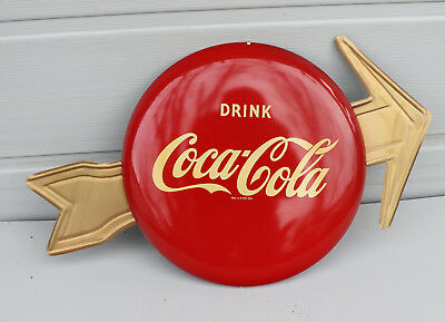 "1950s 12"" COCA COLA BUTTON SIGN with GOLD ARROW"