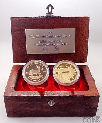 2001 South Africa 2-Coin Krugerrand & Protea Mint Mark Set
