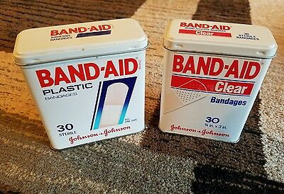 Vintage 2 BAND AID Tin containers johnson & johnson 1985 1990