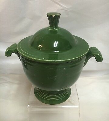 Vintage FIESTA WARE Dark Forest Green COVERED SUGAR BOWL Chip on finial of lid