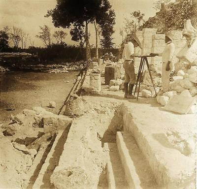 Yucatan MAYAN Archaeological Expedition 1920s SIGNED GLASS PHOTO STEREOVIEW Rare