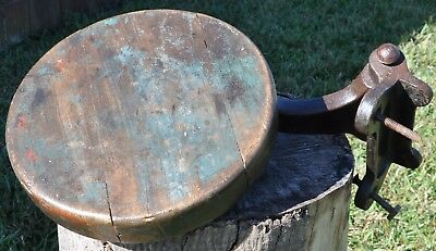 Vintage Industrial Cast Iron Round Wood Swing Out Workbench Stool Seat Blue #2