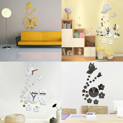 Mirror Wall Stickers 3D Clock Butterfly Pattern CA005 Living Room Decoration~EGD