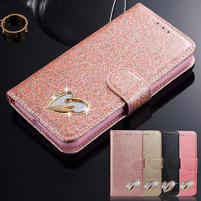 Bling Glitter Leather Magnetic Wallet Flip Case Cover For Samsung Galaxy Phones