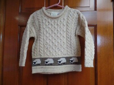 Emerald Design Sweater Kids Size: 4/5 Crew Neck Pullover Sheep Trim Wool