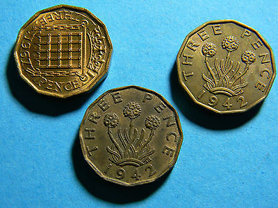 Great Britain UK England 3 three pence coins 1942 1967 Coin (lot #0187)