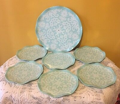 VINTAGE HOLLYWOOD TAMCO LACE CAKE OR SANDWICH PLATE SET. MELMAC AUSTRALIA 7pce
