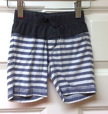 Tea Collection VGUC 12-18M Boy Gray Navy Stripe Cotton Pull On Drawstring Shorts