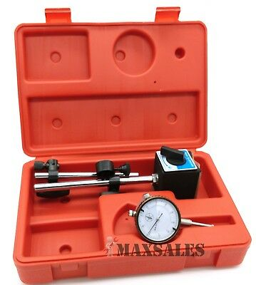 """Universal 3D Deluxe Magnetic Base Holder W/ Dial Test Indicator 0.001"""" W/ Case"""