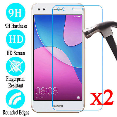2Pcs Huawei P9 Lite Mini 5.0'' 9H Tempered Glass Film Screen Protector Cover