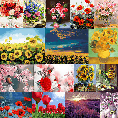 Flower DIY Paint By Number Acrylic Oil Painting On Canvas Art Wall Decor Scenery