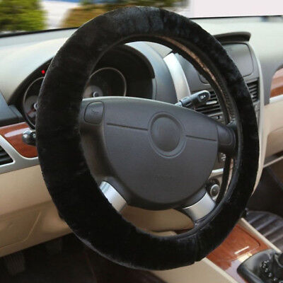 Soft Warm Plush Wool Steering Wheel Cover Winter Furry Fluffy Car Accessory #N