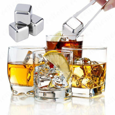 Stainless Steel Wine Drinks Cooler Stones Ice Cube Whiskey Beer Scotch Rocks