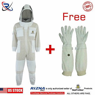 Beepro 3 Layer beekeeping full suit ventilated jacket Astronaut veil@M-34