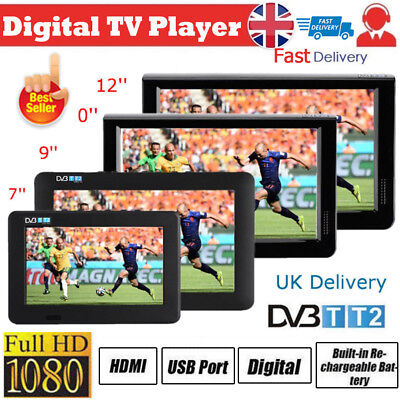 Freeview 1080P HDMI HD 7-12'' Portable TV Digital Television Player PVR/USB 12V