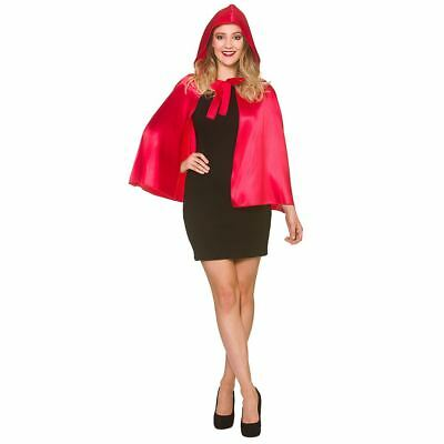 Ladies Satin Hooded Cape Fancy Dress Halloween Red Riding Hood 60cm Cloak