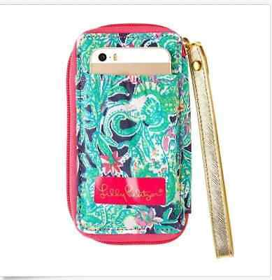 New/NWT Lilly Pulitzer Carded Wristlet IPhone Bright Navy Trunk Show-College ID