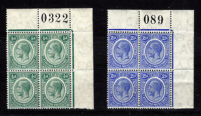 Nyasaland 1913  Sg# 83, 89  Mnh **  Corner Blocks Of 4  Sheet Nr.