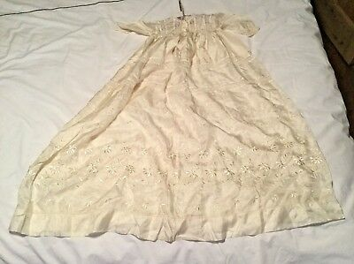 Beautiful antique ivory silk embroidered baby or doll's Christening gown long