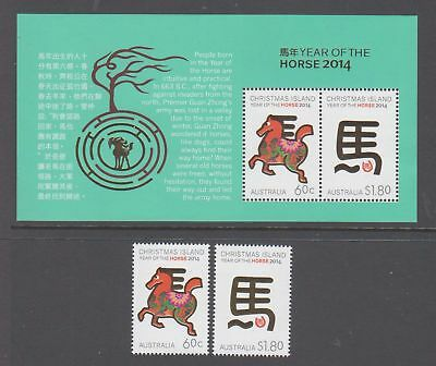 Christmas Island 2014 Year of Horse Mint unhinged set 2 stamps + mini sheet