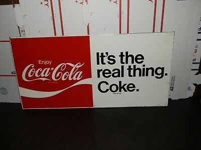 """Vintage Original Coca Cola Sign """"its The Real Thing. Coke"""" Mca 495  To51 33""""x15"""""""