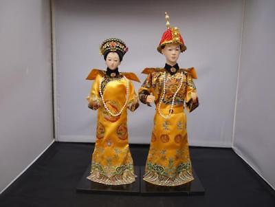 Oriental Broider Doll,Pair Chinese Qing emperor empress statue Height 12 inch