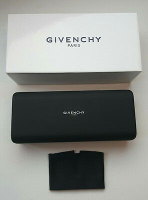 Givenchy Large Black Sunglasses Case With White Box & Cleaning Cloth