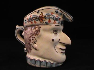 Antique Faience Toby Mug Head Face DELFT Charachter Pitcher Signed RARE