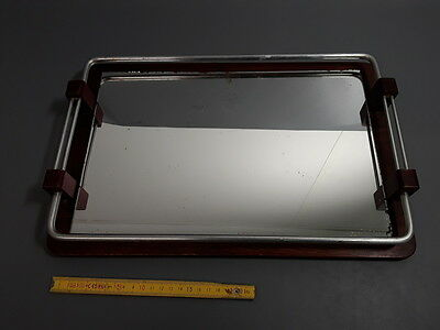 Antique plate service vintage glass and wood french antique tray