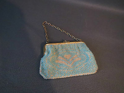 Antique small coin purse decor pearls and chain vintage french antique