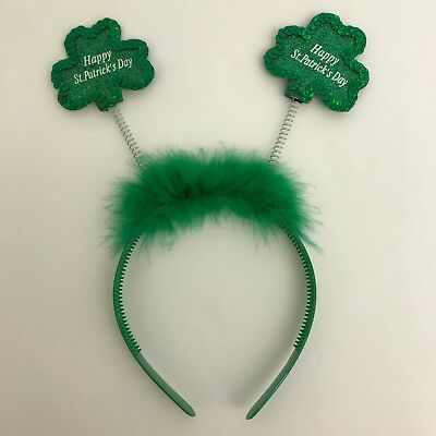 St Patricks Day Headband Green Glitter Shamrocks on Springs Feathers Claire's