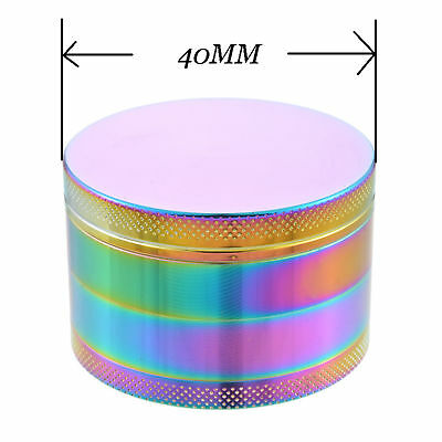 40MM 4-Layers Tobacco Grinder Rainbow Herb Metal Tobacco Herb Spice Crusher GIFT