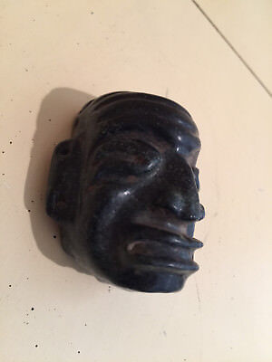 "Pre Columbian Mask Black Jade 3""  Authentic Mayan Ceremonial Piece From Estate"