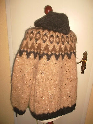 Island Norweger Strickjacke Wolle Hippie wool hoodie jacket goa vintage S (M)