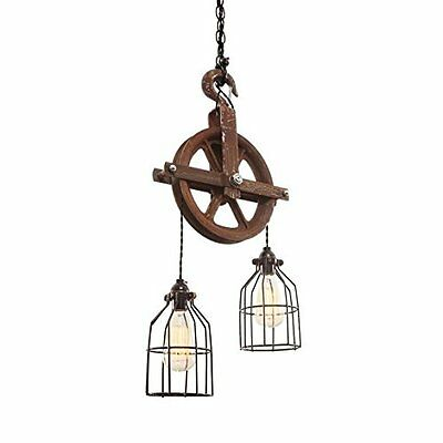 Rusted Barn Pulley Light Steampunk Rustic Antique Retro patina Metal Farm Home