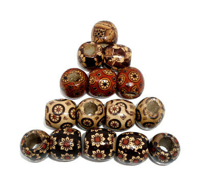 100 Mixed Painted Drum Wood Spacer Beads 17x16mm GIFT