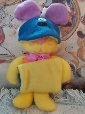 CAT Yellow Purr-Tender MOUSE Plush 1987 Hallmark Burger King Toy Sock-Ems Purple