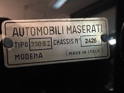 Maserati 200si Chassis Identification Plate For Chassis 2426