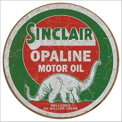 Sinclair Opaline Motor Oil Mellowed 80 Million Years Round Tin Metal Sign
