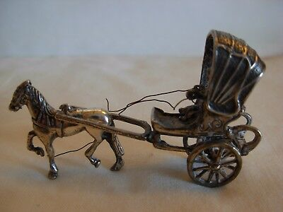 Old  Miniature Dutch Sterling Silver Carriage Coach  Horse & Rider Moving Wheels