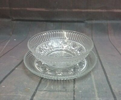 Vintage Crystal Small Glass Dip/Candy Bowl & Small Serving Plate Diamond Cut
